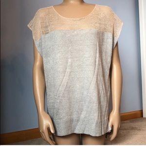 Eileen Fisher Linen Cream Mesh Gray Top